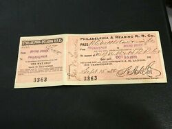 1888 Philadelphia And Reading Rr Co. Railroad Pass Ticket W Cond Check Bound Brook