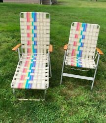 2 Retro Chairs Aluminum Webbed Folding Lawn Beach Chairs Mcm Vintage Matching