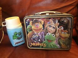 Vintage 1979 Jim Henson's Muppets Metal Lunch Box With Thermos Kermit The Frog