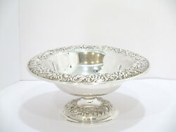 10 In Sterling Silver S. Kirk And Son Antique Floral Repousse Footed Serving Bowl