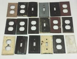 Vtg Light Switch Plate Covers Outlet Uniline Bryant Brown Antique Lot Of 18