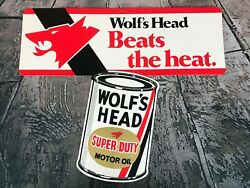 Vintage Wolfand039s Head Super Duty Motor Oil Two Sided Hanging Cardboard Sign Nos