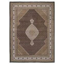 9and0398x14and039 Tebraz Mahi Medallion Design Wool And Silk Hand Knotted Black Rug G63312