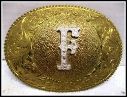 Near Pristine Awesome Letter F Crumrine Usa Made And Engraved Belt Buckle