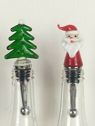 Jolly Christmas Hand Blown Glass Art Wine Bottle Stoppers Santa And Christmas Tree