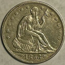 1853 Seated Liberty Half Dollar Rays And Arrows Au Uncertified
