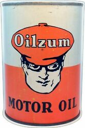 Oilzum Motor Oil Quart Can Shaped 21 Heavy Duty Usa Made Metal Advertising Sign