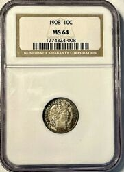 1908 Barber Dime Great Eye Appeal Ngc Ms64