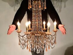 Large Antique Empire French Pink Opaline Drops Shades Swags Gilded Chandelier