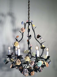 Antique Large 1920andrsquo French Louis Xv Green Tole Chandelier And Porcelain Flowers