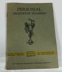 Vintage New England Telephone And Telegraph Personal Telephone Numbers Book