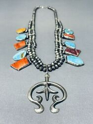 Rare Acoma Vintage Turquoise Sterling Silver Squash Blossom Necklace