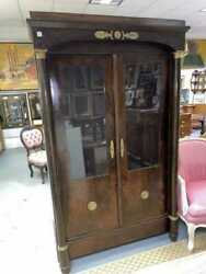 Antique French Empire Two Door Cupboard Cabinet With Gilt Bronze Mounts,