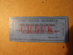 Ca 1870 Early Union Pacific Railroad Ticket Check Cheyenne To Larlamie Uprr