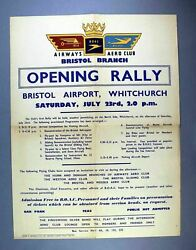 Bristol Airport Whitchurch Aero Club Opening Rally 1949 Poster Bsaa Boac Bea