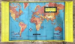 Air France Vintage Airline Route Map And Flight Guide Brochure 1955 Superb Images
