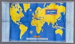 Air France Vintage Airline Route Map And Flight Guide Brochure 1956 Superb Images