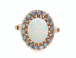 Vintage Opal Cocktail Statement Halo Ring Yellow Gold Antique Art Deco 1944