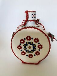 Vintage Folk Art Leather Covered Glass Flask Bottle Canteen Red White And Blue