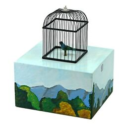Reuge Singing Bird Box, Ref. Axt.92.6891.000, Hand Painted Cage Paysage, 2006