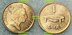 Fiji 1 Cent 2006 Queen And Bowl Magnetic 18mm Copper Steel Coin Unc Km49b