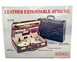 Nib Heritage Burgundy Leather Attache Briefcase Deluxe Expandable Model 11472