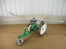 Vintage Green And White Sears Craftsman Cast Iron Walking Tractor Lawn Sprinkler