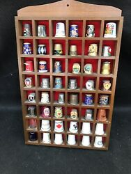 Thimble Display Case With 48 Pewter Thimbles Brown Unique Collectibles Lovely