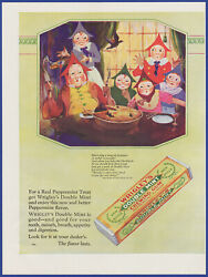 Vintage 1927 Wrigley's Double Mint Chewing Gum Mother Goose Décor 20's Print Ad