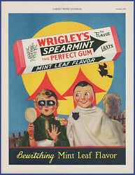 Vintage 1929 Wrigley's Spearmint Chewing Gum Halloween Witch Art 20's Print Ad