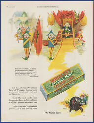 Vintage 1928 Wrigley's Double Mint Chewing Gum Thanksgiving Décor 20's Print Ad
