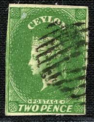 Ceylon Qv Stamp Sg.3a 2d Yellowish Green 1857 Xf Used Cat Andpound90+ Yblue11