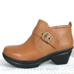 Sanita Womens Cognac Norma Leather Ankle Booties Boots 9-9.5 Us 40 Eu Nwt