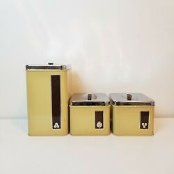 Vintage Tin Canisters Set Of 3 Sugar, Coffee, Tea Metal Canisters Gsw Harmony