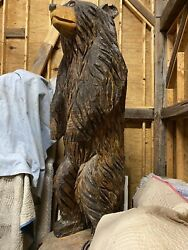 Brown Bear Chainsaw Wood Carved