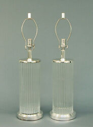 Pair Of Large Decorator Lamps Modernist/deco Style -- Glass Tubes, Silver Plate