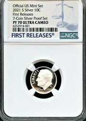 2021 S Silver.99.9 Roosevelt Dime Fr From 7-coin Silver Set Ngc Pf70 Uc Blue