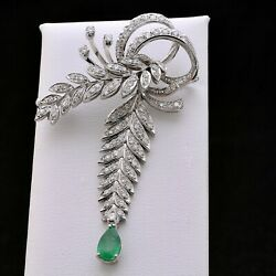 Vintage Brooch White Gold 18 Carats 750 With Diamonds 1.51 Ct And Emerald 1 Ct