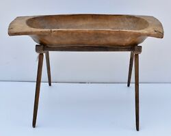Antique Hand-hewn Trog Or Dough Bowl On Oak Stand
