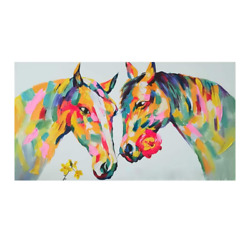 Original Hand Painted Horses Acrylic Painting 48 Andtimes 24 Sized Modern Artwork