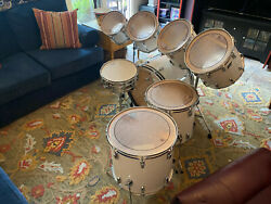 Ludwig 8 Piece Early / Mid 70s White Cortex Drum Kit