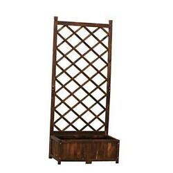 Anjor 67in Rustic Planter Box With Trellis Raised Garden 29.5and039and03917.0and039and03967.0and039and039