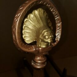 Antique Andirons Native American Indian Chief Rare