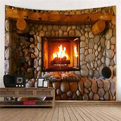 2 sizes Wall Tapestry Hanging Fireplace Pattern Throw Blanket Decor Ar W
