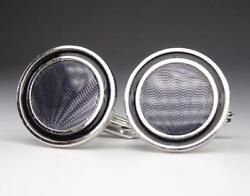 Dunhill Mens Cufflinks Sv925 Silver X Blue Color Shell Pattern Lost Box Used F/s