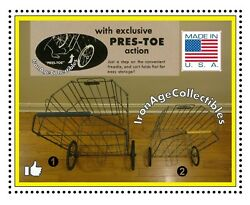 Antique 1940s Folding Metal Grocery Shopping Cart Wire Basketcollapsible X 2