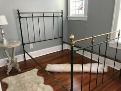 Antique European Iron And Brass Bed - Fits Full Size Mattress