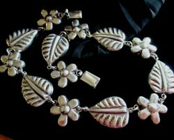 """Vintage Taxco Mexico Sterling Artisan Crafted Flower And Leaf Necklace 16"""""""