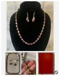 2pc Set Pearl Necklace Drop Dangle Pierced Earring Chocolate Brown Button