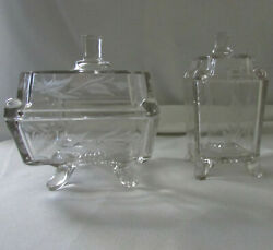 Antique 1882 Eapg Adams And Co Footed Square Panel Butter Dish And Covered Sugar